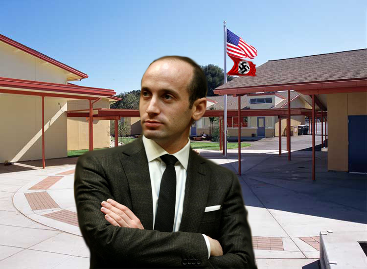 Stephen Miller Waits In Front Of Flagpole After School For Jake Tapper