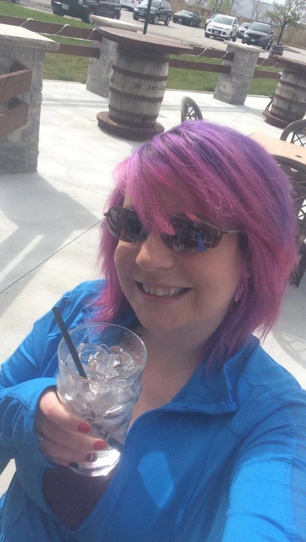 selfie, drinks, selfie on the patio