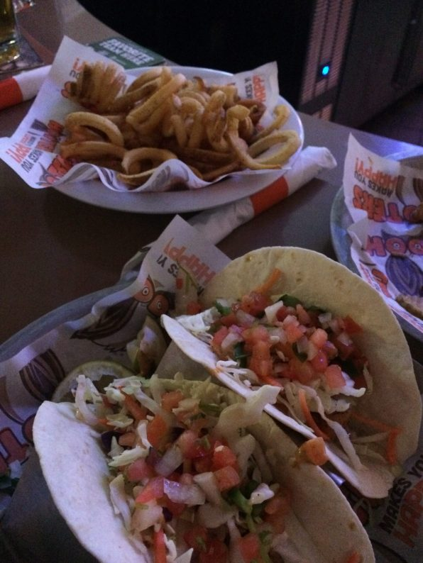 fish tacos, fries, hooters