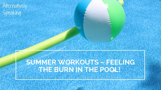 pool, pool noodle, beach ball, pool workout