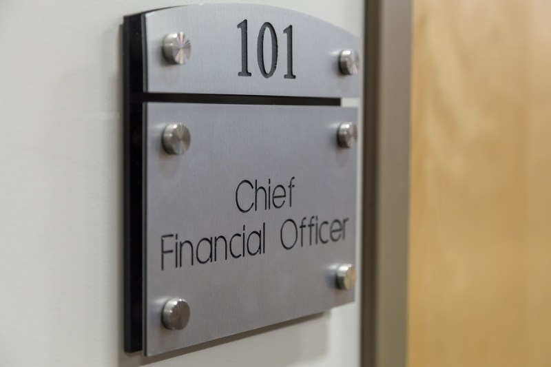 A Sign for a Chief Financial Officer that was created at Alternatives Industry