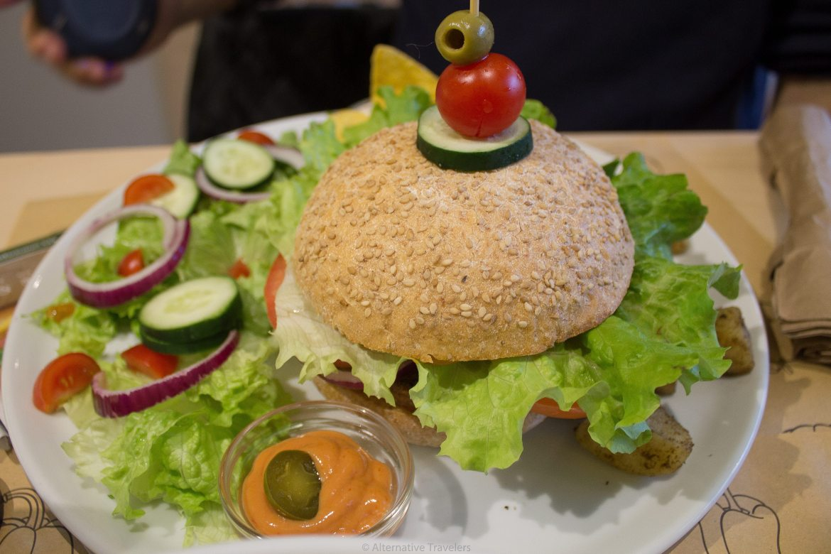 Vegan Burger in Florence, Italy at Universo Vegano, an all vegan restaurant that we tried while creating our vegan guide to Florence
