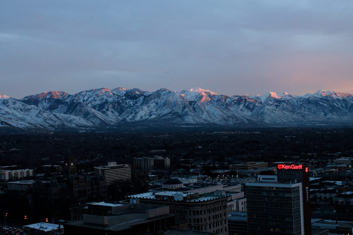 View of Salt Lake City from the top of the condo building of our first housesit.