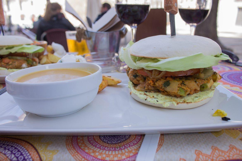 the vegan burger menu special at Viva Burger in Madrid Spain