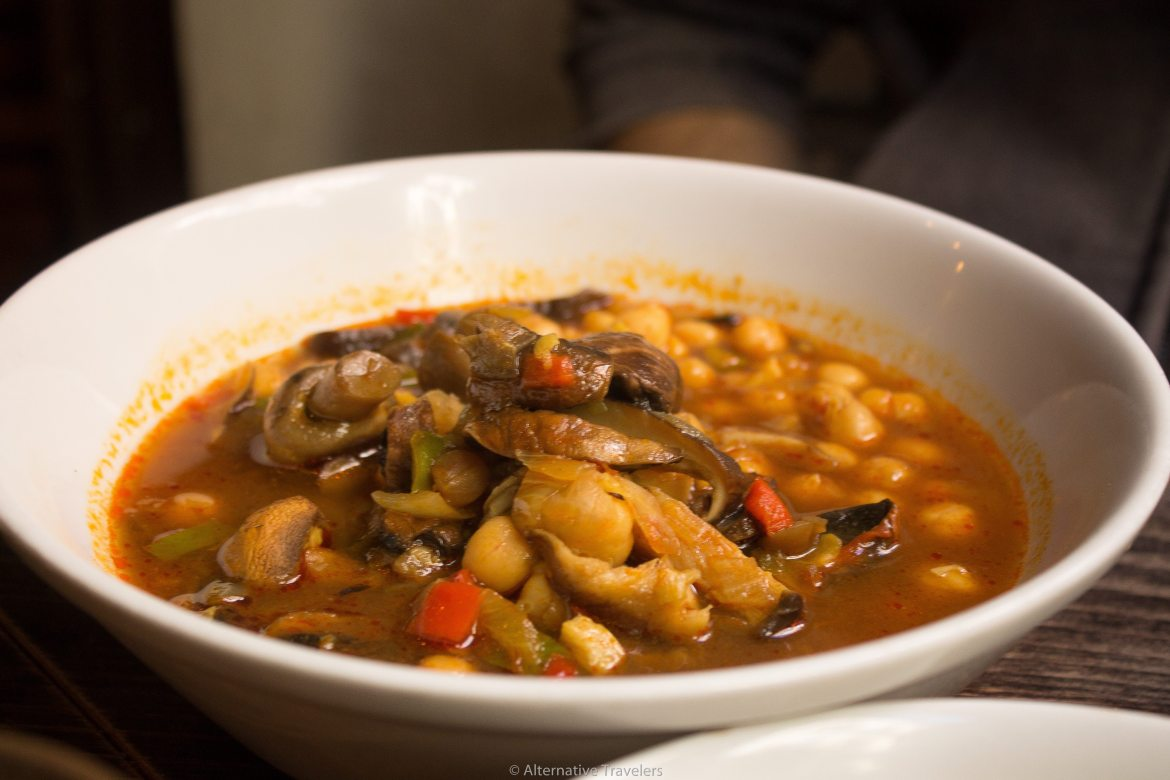 Cocido madrileno, traditional madrid stew, at Vega in Madrid Spain