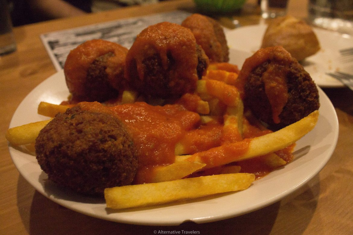 housemade meatballs at B13 Madrid Spain