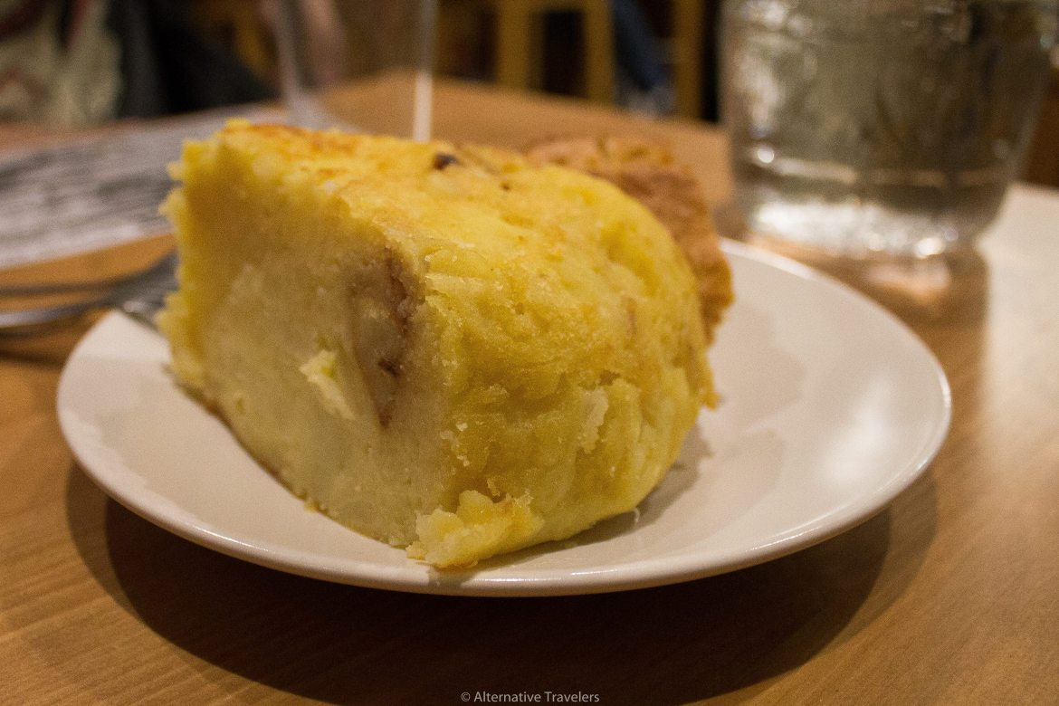 Vegan Spanish Tortilla at Distrito Vegano in Madrid, Spain