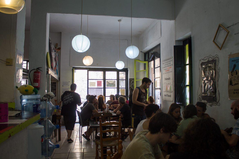 Inside La Mandragora, a vegan restaurant in Valencia