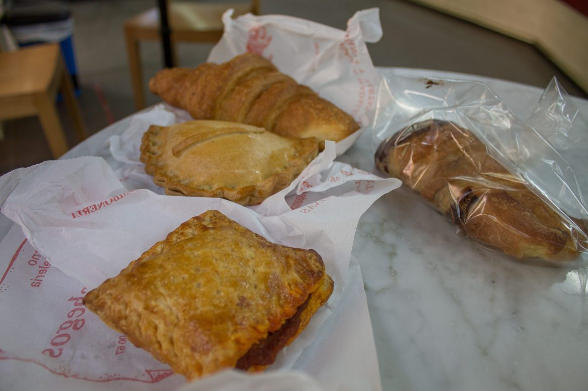 Assorted vegan pastries from Los Manchegos, a vegan-friendly bakery in Valencia, Spain.