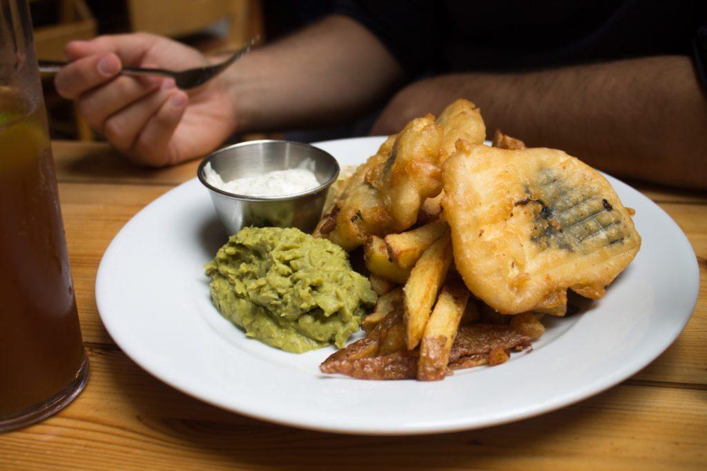 vegan fish n chips at Mono, a vegan restaurant in Glasgow