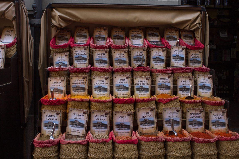 Buying bulk spices for zero waste travel in Granada, Spain - AlternativeTravelers.com
