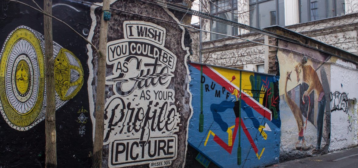 "Berlin street art: ""I wish I was As Cute as Your Profile Picture"""