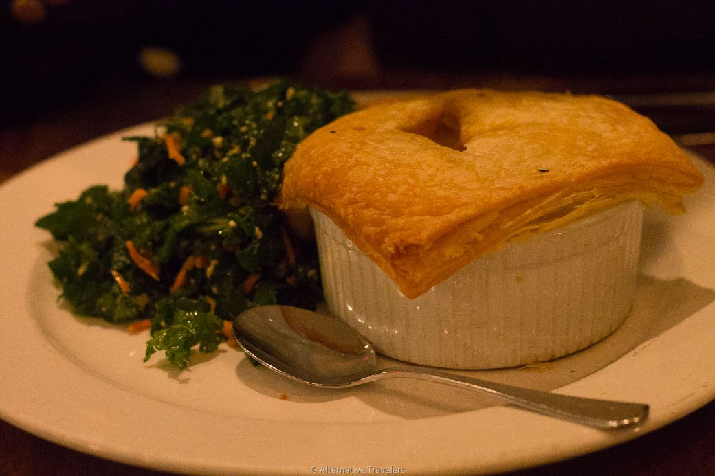 Pot Pie at Peacefood Cafe, a vegan restaurant in the Upper West Side, NYC