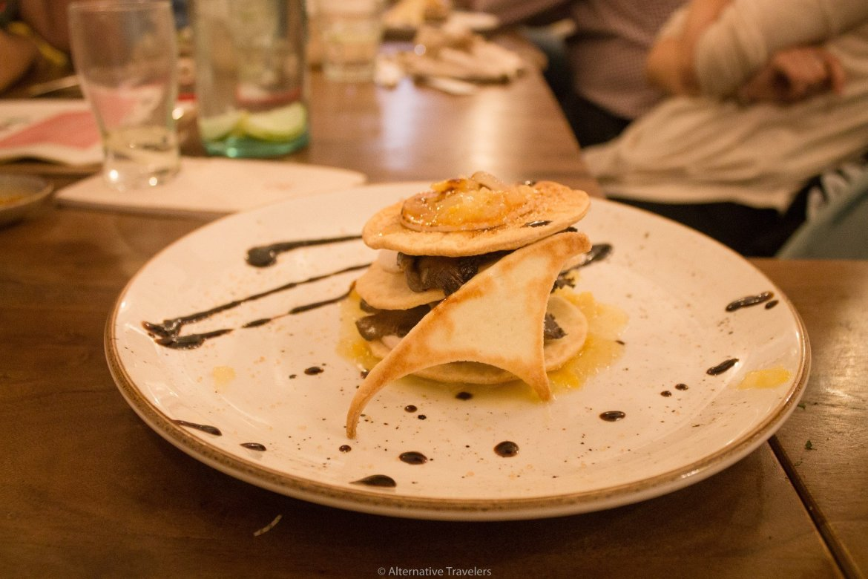 Milhojas, a French style dish veganized at La Tia Carlota Vegan Gastrobar in Madrid | AlternativeTravelers.com
