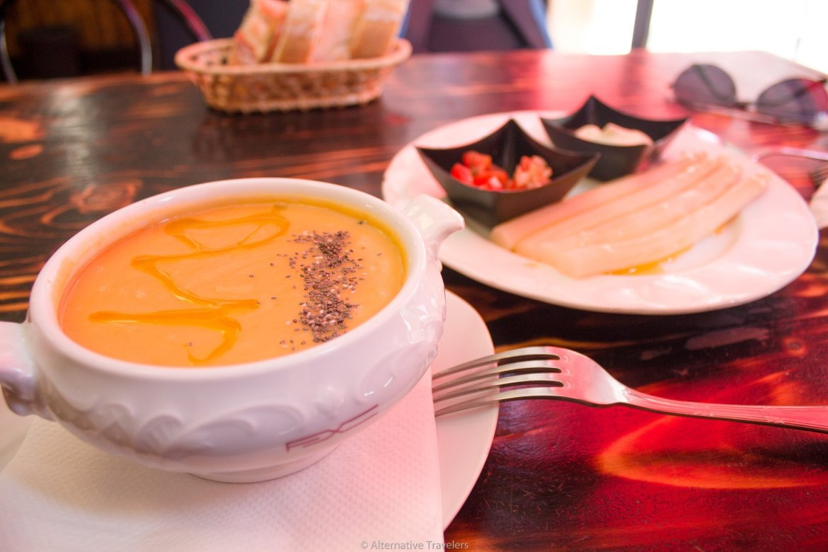 vegan carrot soup and white asparagus first plates at El Atrakon in Madrid Spain