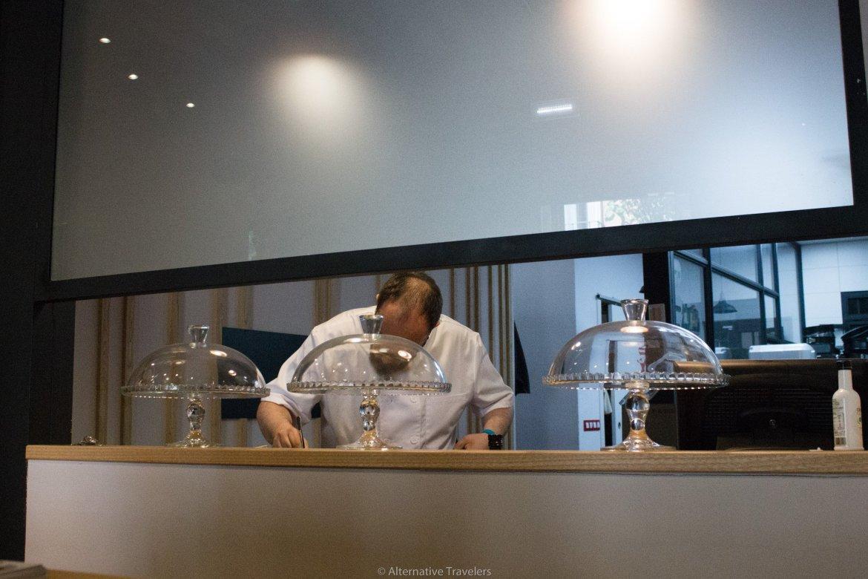 Julian preparing food at Landareak