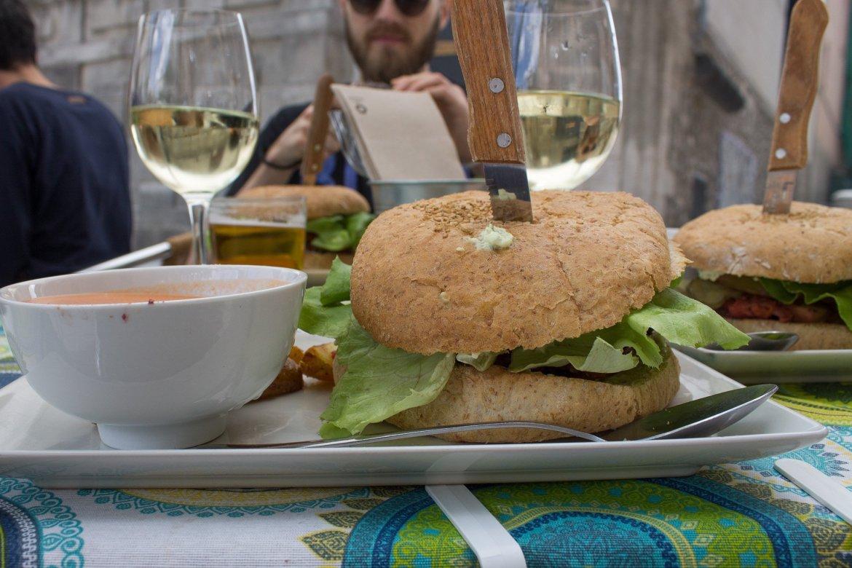 burger menu del dia at Viva Burger Madrid, Spain