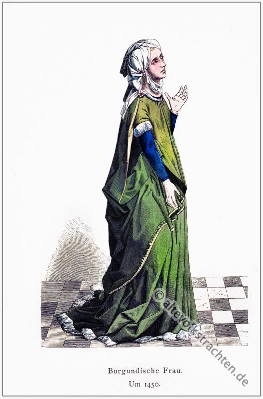 Burgund, Edeldame, Fürstin,  Mittelalter, Kleidung, Kostümgeschichte, Modegeschichte