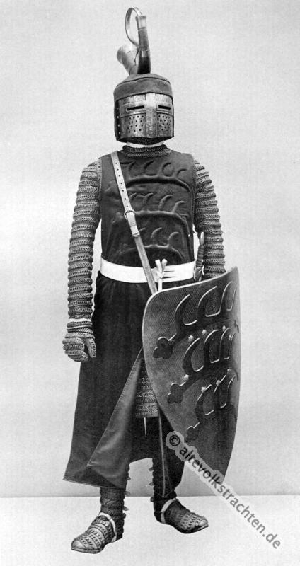 Topfhelm, Halsberc, Brünne, Waffenrock, zweischneidiges Schwert, Ritter, Rüstung, Mittelalter,