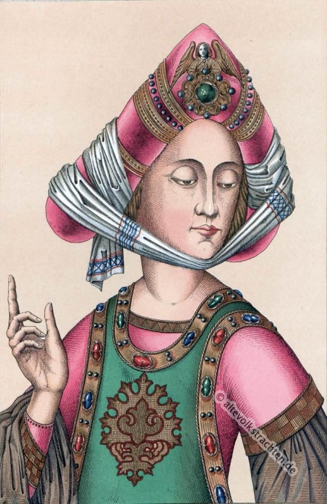 Turban, 15. Jahrhundert, Agraffe, Gotik, Mittelalter, Gewandung, Modegeschichte, Kostümgeschichte, historische Kleidung,