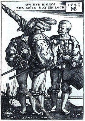 Hans Beham, Landsknechte, Bauernkrieg, Fähnrich, Trommler, Pfeifer, Soldaten, Renaissance,