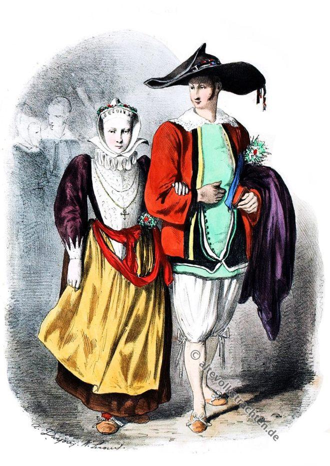 Bretagne, Batz-sur-Mer, Brautkleid, Trachten, Historische Kleidung, Modegeschichte, Kostümgeschichte
