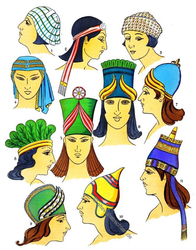 Assyrien, Mesopotamien, Frisuren, Hüte, Kostümgeschichte
