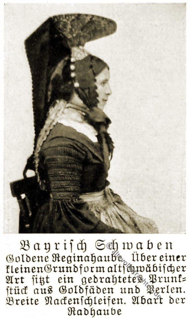 Reginahaube, Schwaben, Bayern, Trachtenhaube, Rose Julien, Volkstrachten