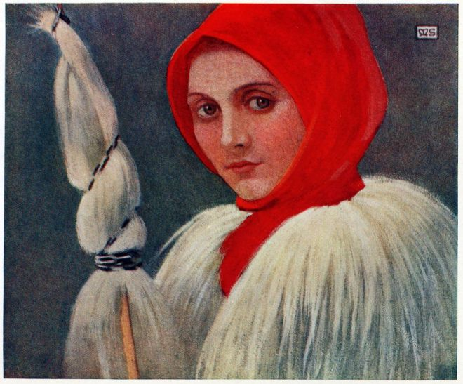 Marianne Stokes, Kleidung, Tracht, Guba, Lodenmantel, Chiuzbaia, Kisbánya, Karpaten, Rumänien, Siebenbürgen