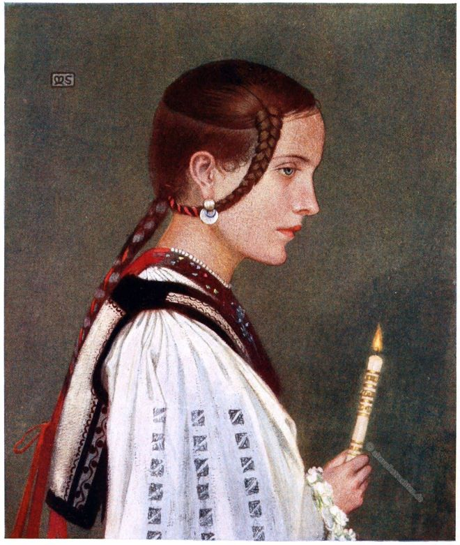 Marianne Stokes, Preindlsberger, Invalidin, Rumänien, Waise, Tracht, Kleidung