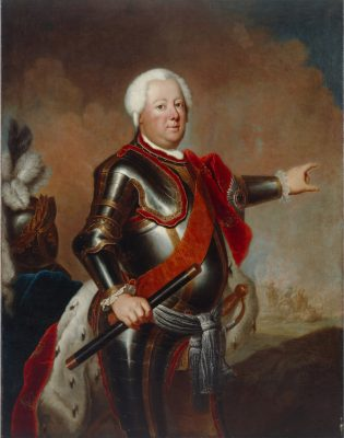 Friedrich Wilhelm I, Harnisch, Hermelinmantel, Marschallstab, Antoine Pesne, Schwarzer Adlerorden, Bruststern