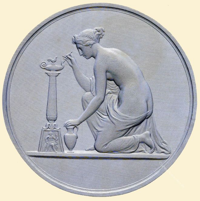 Science Trimming The Lamp Of Life. Engraved by Freebairn (By the Anaglyptograph) From the Medal (The Brodie Testimonial) By William Wyon. R. A. 1795-1851