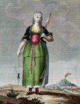 Tracht einer Frau auf der Via Chiaia in Süditalien, 18. Jh.