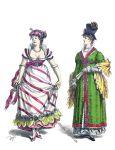 Ballkleid, Dame mit Zylinderhut. Mode des Empire 1805.