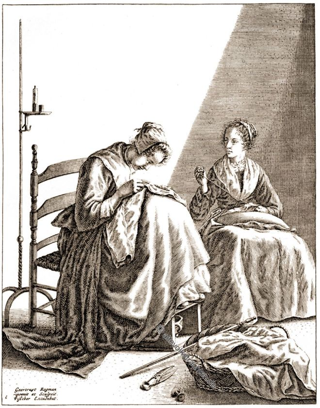 Geertruydt Roghman, Baroque, Dutch, painting, Two Women Sewing,
