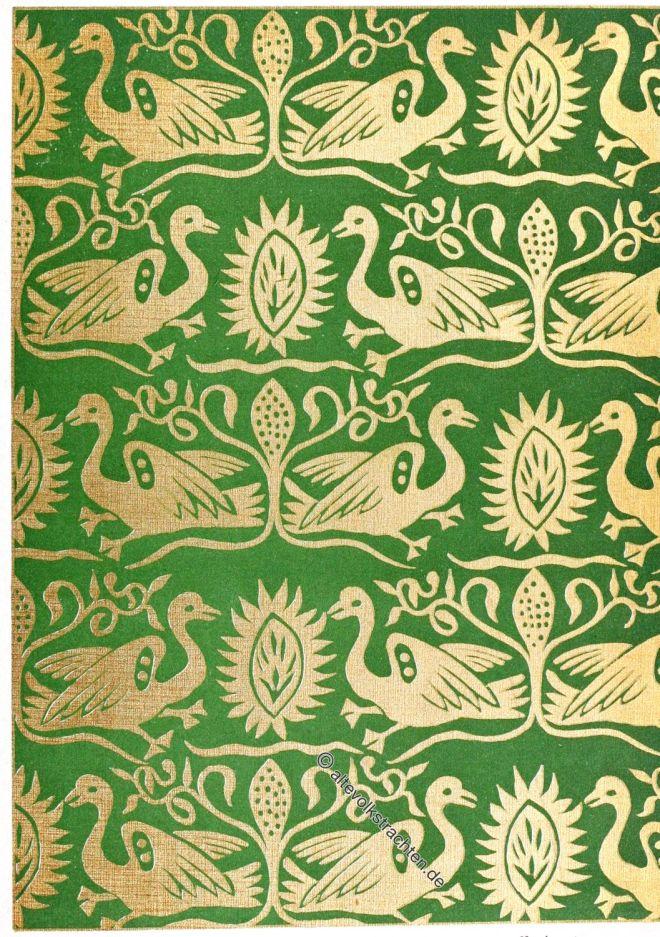Golddruck, Seide, Romanik, Mittelalter, Textildesign, Stoffdruck