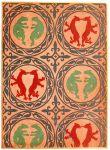 Mittelalterlicher Stoffdruck. Romanischer Dreifarbendruck.