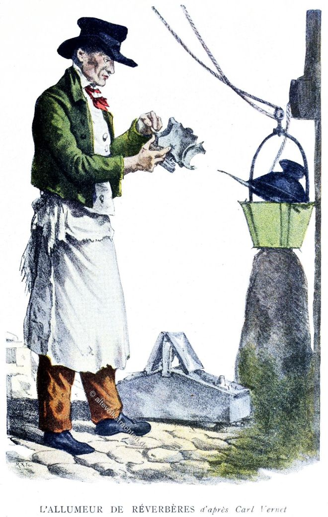 Strassenlaternen, Anzünder, Paris, historische Berufe