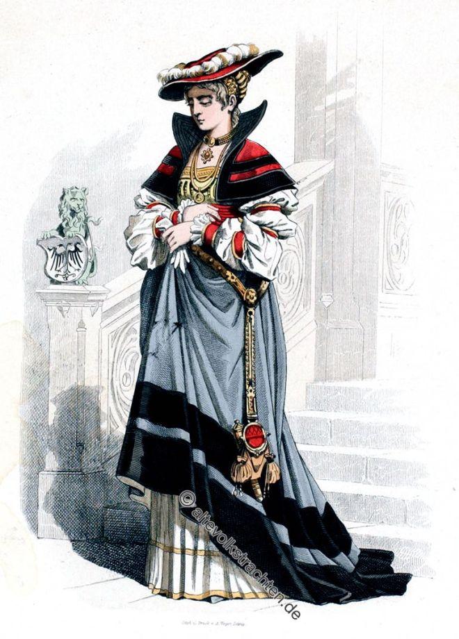 Lipperheide, Kostüm, Edelfrau, Mode, Renaissance, Bekleidung, Kleidung, 16. Jahrhundert
