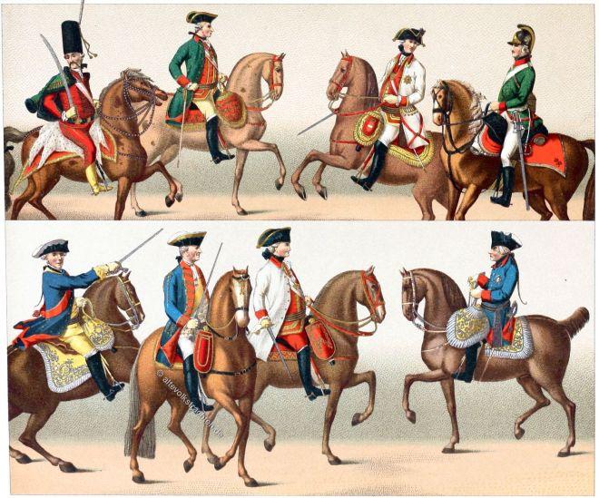 Kavallerie, Uniformen, Preussen, Österreich, Offiziere, siebenjähriger Krieg, Auguste Racinet