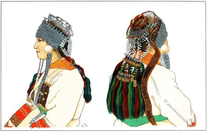 Tracht, Brautschmuck, Russland, Mordwinin, Kostüm, Traditionelles Brautkleid, Mordvinen,