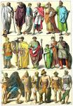 Rom. Kostüm römischer Tribunen, Heerführer, Staatsbeamte, Gladiatoren.
