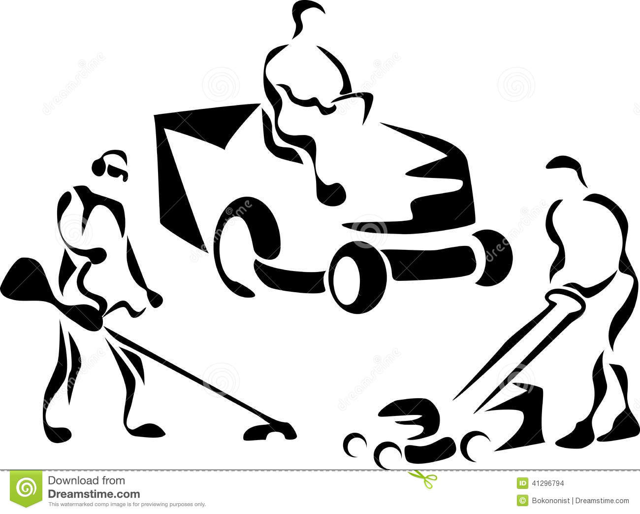 Lawnmower Cutting Grass Stylized Black White Illustration