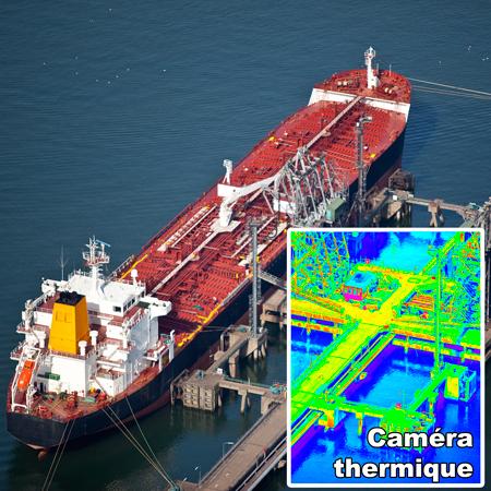 Inspection et surveillance par drone d'un terminal de chargement portuaire, avec une caméra HD et zoom 30X et caméra infrarouge - thermique