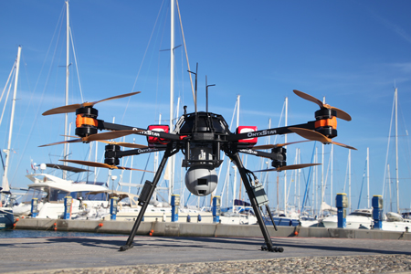 SAR drone, ready to takeoff to participate in refugees sea rescue patrol