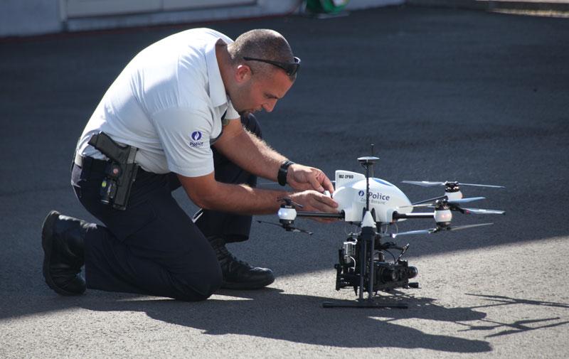 Le drone de la Police prêt à s'envoler