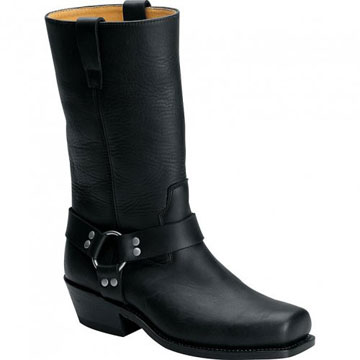 Square toe western style mens harness boot