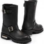 Round toe leather boot with zipper entry