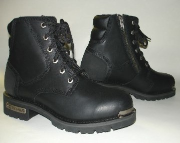 Leather boots for girls on motorcycles