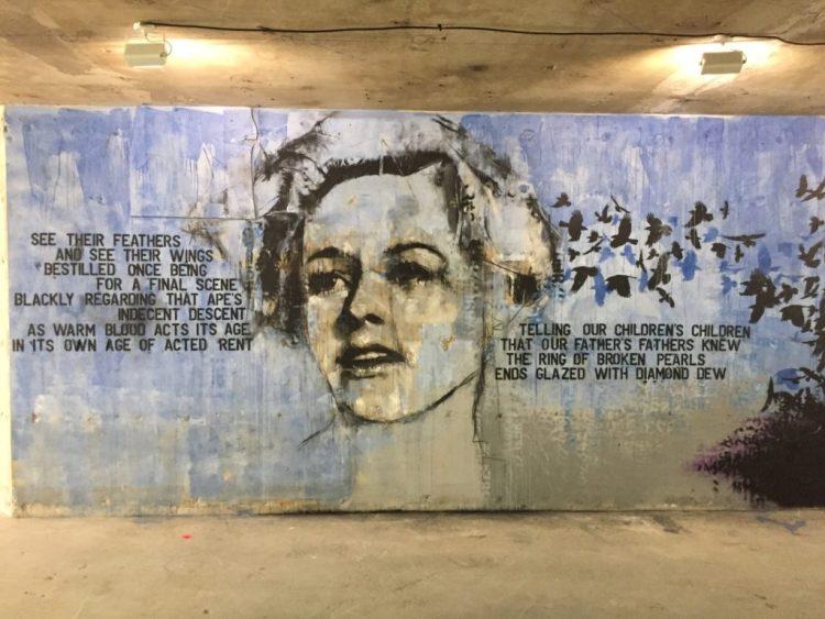 Mur peint Guy Denning, film Les Oiseaux, exposition streetart Les Capucines de l'art